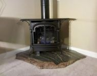 Freestanding Gas Fireplace - Custom Stone Pad