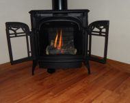 Free Standing Gas Fireplace with Decorative Doors