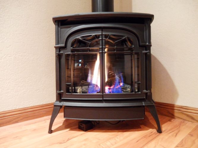 Free Standing Gas Fireplace - Large Flames